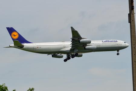 Bangkok, Vietnam - Sep 17, 2018. An Airbus A340-300 airplane of Lufthansa landing at Suvarnabhumi Airport (BKK) in Bangkok, Thailand.