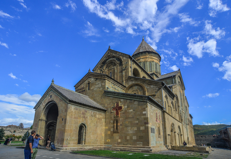 Mtskheta, Georgia - Sep 26, 2018. Svetitskhoveli Cathedral of Mtskheta, Georgia. It is an Eastern Orthodox cathedral, the second largest church building in Georgia.