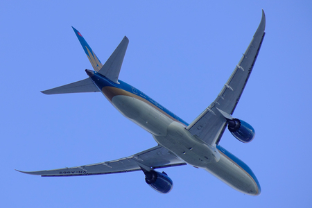 Saigon, Vietnam - Jan 6, 2019. A Boeing 787 Dreamliner of Vietnam Airlines taking off from Tan Son Nhat Airport (SGN) in Saigon (Ho Chi Minh City), Vietnam.