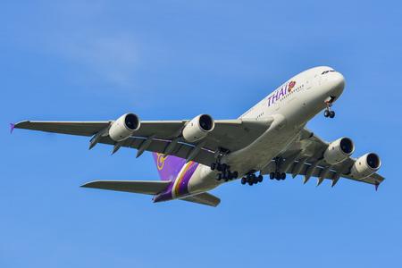 Bangkok, Vietnam - Sep 17, 2018. An Airbus A380-800 airplane of Thai Airways landing at Suvarnabhumi Airport (BKK) in Bangkok, Thailand. Editorial