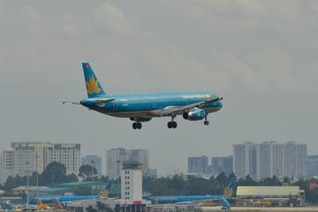 Saigon, Vietnam - Jun 24, 2018. An Airbus A321 airplane of Vietnam Airlines landing at Tan Son Nhat Airport (SGN) in Saigon (Ho Chi Minh City), Vietnam. Editorial