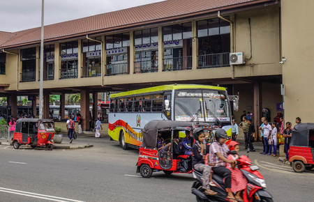 Galle, Sri Lanka - Dec 22, 2018. People and vehicles at main bus station in Galle, Sri Lanka. Buses are the most widespread public transport type in Sri Lanka.