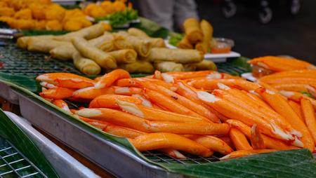 Crab meat in sticks at street market in Bangkok, Thailand. Reklamní fotografie