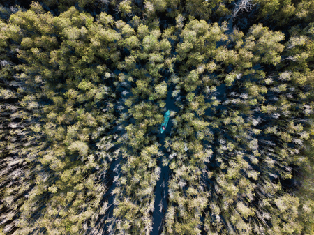 Aerial view of wooden boat at Melaleuca tree forest in Mekong Delta, Southern Vietnam. Taken by drone (flycam).