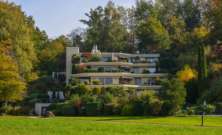 Lucerne, Switzerland - Oct 23, 2018. A luxury house in Lucerne, Switzerland. Lucerne (Luzern) is a beautiful small city in the heartland of Switzerland.