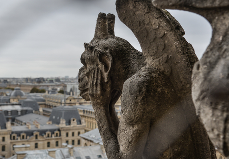 Chimera (Gargoyle) of the Cathedral of Notre Dame de Paris (France).