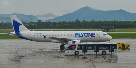 Da Nang, Vietnam - Jan 22, 2019. An Airbus A320 airplane of FlyOne taxiing on runway of Da Nang International Airport (DAD).