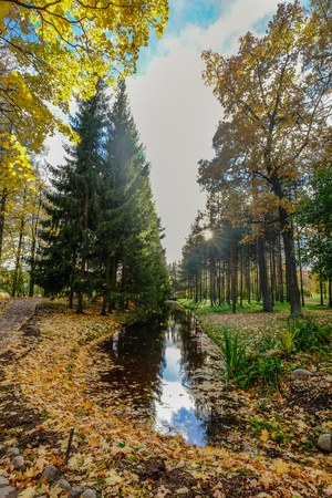 Autumn park of Catherine Palace in Saint Petersburg, Russia.