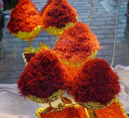Saffron spice for sale at the shop in Dubai Spice Market (UAE).