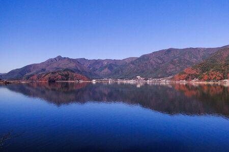 Lake Kawaguchi (Japan) at sunny day in autumn.