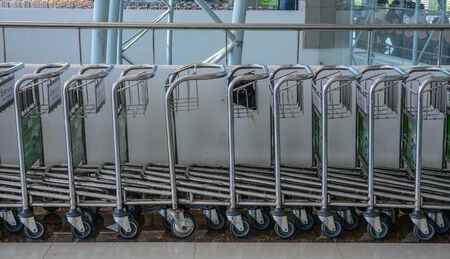 Airport trolley parking lot at Departure Hall of Lien Khuong Airport (DLI) in Dalat, Vietnam.
