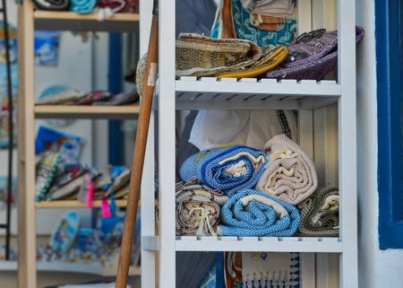 Elegant scarf for sale at the fashion shop on Santorini Island, Greece.