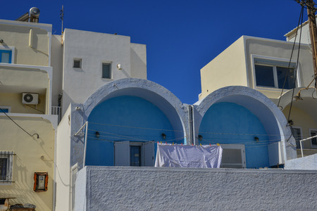 Typical house on Santorini Island, Greece. Santorini is one of the most popular islands for destination weddings and honeymoons.