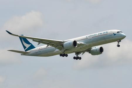 Bangkok, Thailand - Sep 17, 2018. An Airbus A350-900 airplane of Cathay Pacific landing at Bangkok Suvarnabhumi Airport (BKK).