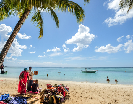 Mauritius - Jan 4, 2017. Seascape of Trou-aux-Biches on Mauritius Island at sunny day. Mauritius is an island nation, and one of famous destinations.