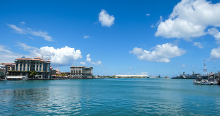 Port Louis, Mauritius - Jan 4, 2017. Seascape of Port Louis Harbour, Mauritius. Port Louis is the country economic, cultural and political centre. Editorial