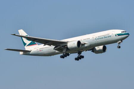 Bangkok, Thailand - Apr 3, 2018. A Boeing 777-200 airplane of Cathay Pacific landing at Bangkok Suvarnabhumi Airport (BKK).