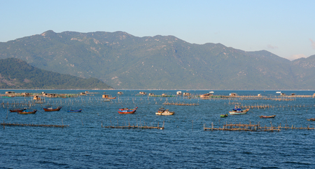 Seascape of Nha Trang Bay, Vietnam. Nha Trang is a coastal city, on the South Central Coast of Vietnam. 版權商用圖片