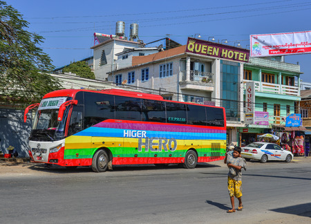 Pyin Oo Lwin, Myanmar - Feb 12, 2017. Big bus on street in Pyin Oo Lwin, Myanmar. Pyin Oo Lwin is small scenic town with many British architecture.