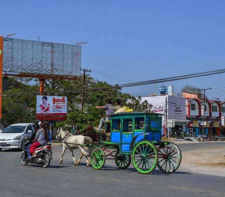 Pyin Oo Lwin, Myanmar - Feb 12, 2017. Horse carts in Pyin Oo Lwin, Myanmar. Pyin Oo Lwin is a scenic hill town in Mandalay Division.