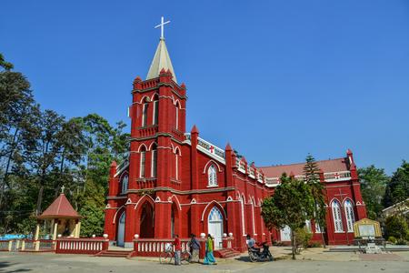 Pyin Oo Lwin, Myanmar - Feb 12, 2017. St. Mary Church in Pyin Oo Lwin, Myanmar. Pyin Oo Lwin is a scenic hill town in Mandalay Division. 報道画像