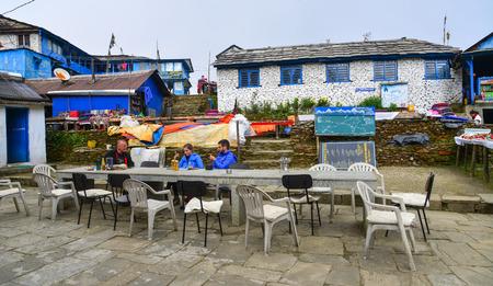 Tadapani, Nepal - Oct 21, 2017. Coffee shop at mountain village at base camp path of Annapurna Massif, Nepal.