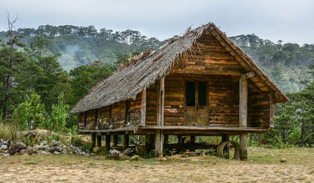 Traditional house at an ethnic village in Central Highlands of Vietnam.