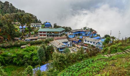 Tadapani, Nepal - Oct 21, 2017. Local house at mountain village at base camp path of Annapurna Massif, Nepal.