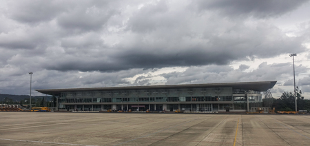 Dalat, Vietnam - Sep 15, 2018. Main building of Lien Khuong Airport (DLI) in Dalat, Vietnam. The airport is located in about 30 km south of Da Lat.