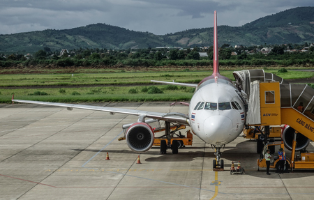 Dalat, Vietnam - Sep 15, 2018. An Airbus A320 airplane of Vietjet Air docking at Lien Khuong Airport (DLI) in Dalat, Vietnam.