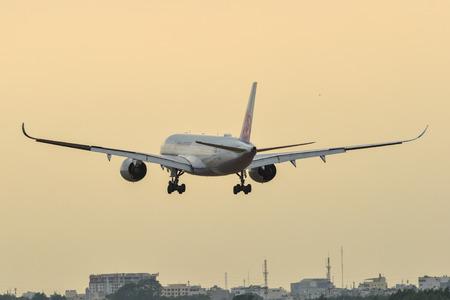 Saigon, Vietnam - Mar 23, 2019. An Airbus A350-900 airplane of China Airlines (reg. B-18902) landing at Tan Son Nhat Airport (SGN) in Saigon, Vietnam.