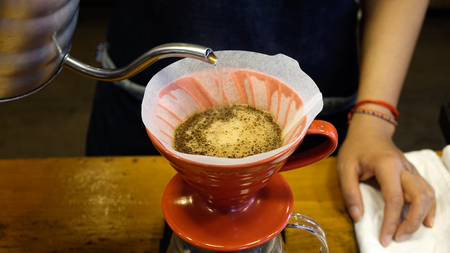 Close-up of brewing coffee process at a specialty coffee shop.