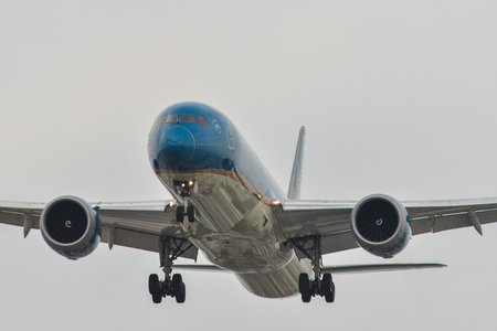 Saigon, Vietnam - Mar 23, 2019. A Boeing 787-9 Dreamliner of Vietnam Airlines landing at Tan Son Nhat Airport (SGN) in Saigon (Ho Chi Minh City), Vietnam.