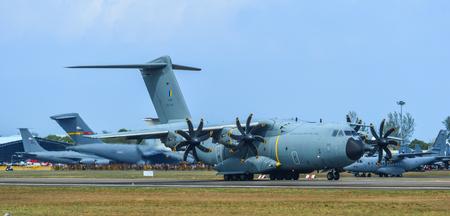 Langkawi, Malaysia - Mar 30, 2019. An Airbus A400M Atlas aircraft of Royal Malaysian Air Force taxiing on the runway of Langkawi Airport (LGK).