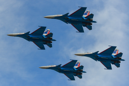 Langkawi, Malaysia - Mar 30, 2019. Su-30SM fighter jets belonging to the Russian Knights aerobatic demonstration team performing at Langkawi Airport (LGK).