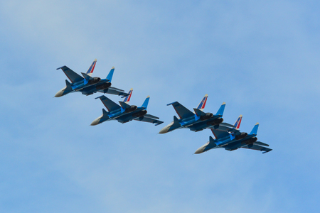 Langkawi, Malaysia - Mar 30, 2019. Su-30SM fighter jets belonging to the Russian Knights aerobatic demonstration team performing at Langkawi Airport (LGK). Stock Photo - 121781153