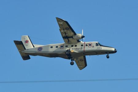 Phuket, Thailand - Apr 4, 2019. A Dornier Do-228 airplane of Royal Thai Navy (reg. 1112) landing at Phuket Airport (HKT).
