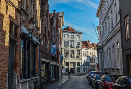 Bruges, Belgium - Oct 5, 2018. Old buildings in Bruges, Belgium. Bruges (Brugge) is Belgium most perfectly preserved medieval town.