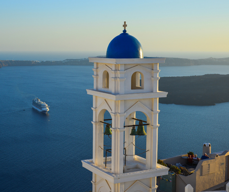 Ancient Greek Orthodox church on Santorini Island. Santorini is one of the most popular islands in the world.