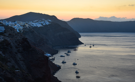 Beautiful Santorini Island at sunrise. Santorini is one of the most popular islands for destination weddings and honeymoons. Reklamní fotografie