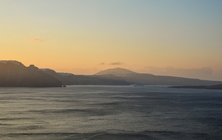 Beautiful landscape with sea view of Santorini Island, Greece.