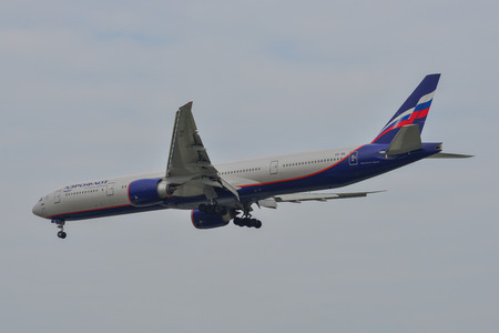 Saigon, Vietnam - Feb 2, 2019. A Boeing 777-300ER airplane of Aeroflot (VQ-BIL) landing at Tan Son Nhat Airport (SGN) in Saigon (Ho Chi Minh City), Vietnam. Editorial