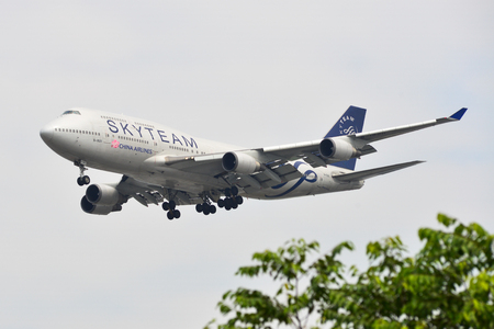 Saigon, Vietnam - Feb 2, 2019. A Boeing 747-400 airplane of China Airlines (B-18211 SkyTeam Livery) landing at Tan Son Nhat Airport (SGN).