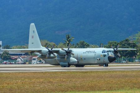 Langkawi, Malaysia - Mar 30, 2019. Lockheed C-130H Hercules Royal Thai Air Force (reg. 60112) taxiing on runway of Langkawi Airport (LGK).