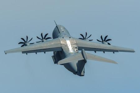 Langkawi, Malaysia - Mar 30, 2019. An Airbus A400M Atlas aircraft of Royal Malaysian Air Force flying for display on Langkawi Island.