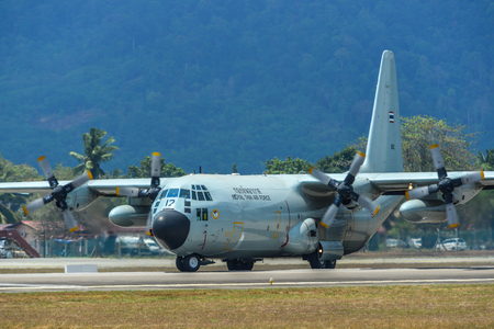 Langkawi, Malaysia - Mar 30, 2019. Lockheed C-130H Hercules Royal Thai Air Force (reg. 60112) taxiing on runway of Langkawi Airport (LGK).