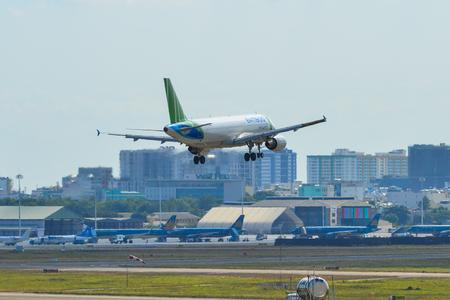 Saigon, Vietnam - Feb 19, 2019. TC-FBV Bamboo Airways Airbus A320 landing at Tan Son Nhat Airport (SGN) in Saigon (Ho Chi Minh City), Vietnam.