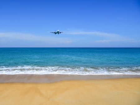 Boeing 777-300ER Thai Airways HS-TKO landing above the sand beach near Phuket Airport (HKT).