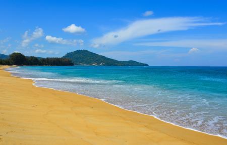Beautiful seascape of Naiyang Beach at sunny day on Phuket Island, Thailand.