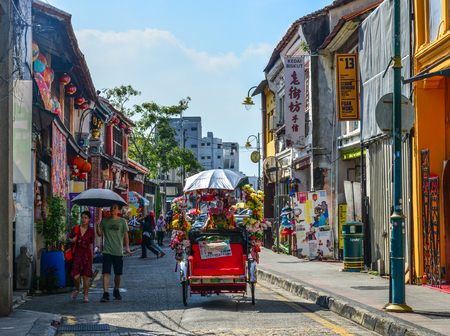 George Town, Malaysia - Apr 3, 2019. Old street in George Town, Malaysia. Established in 1786, the Town was the first British settlement in Southeast Asia.